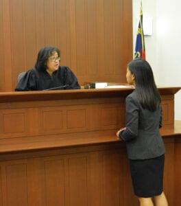 Intern speaking with a judge